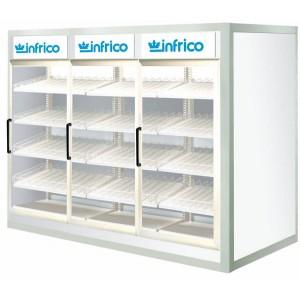 Armario y cámara modular que ofrece soluciones prácticas y profesionales al almacenamiento y conservación de productos alimenticios. Diseñados con puertas de cristal.